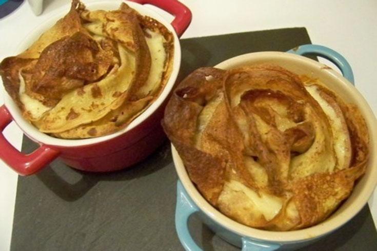 Cassolette de crêpes, magret de canard & chèvre
