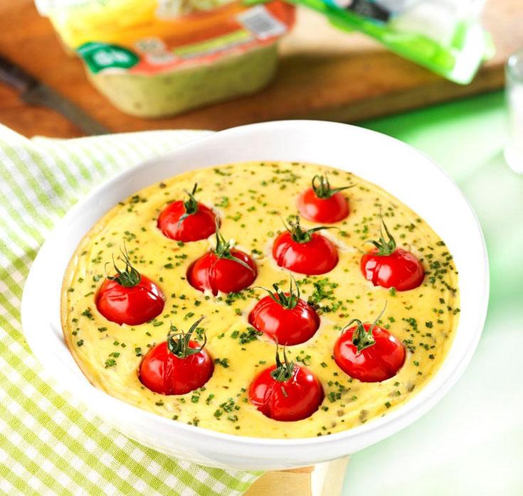 Clafoutis de courgettes et chèvre aux tomates cerises