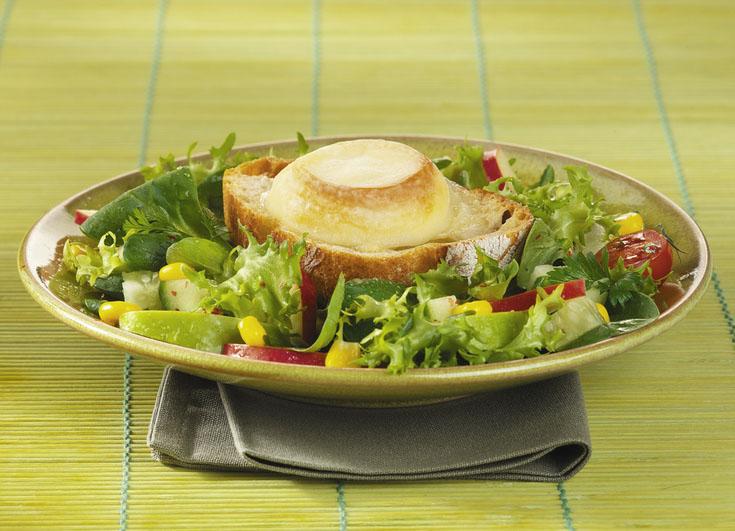 Fromage de chèvre chaud sur salade bis