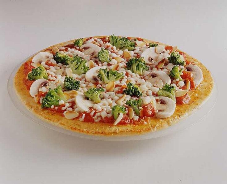 Pizza au chèvre, brocolis et champignons