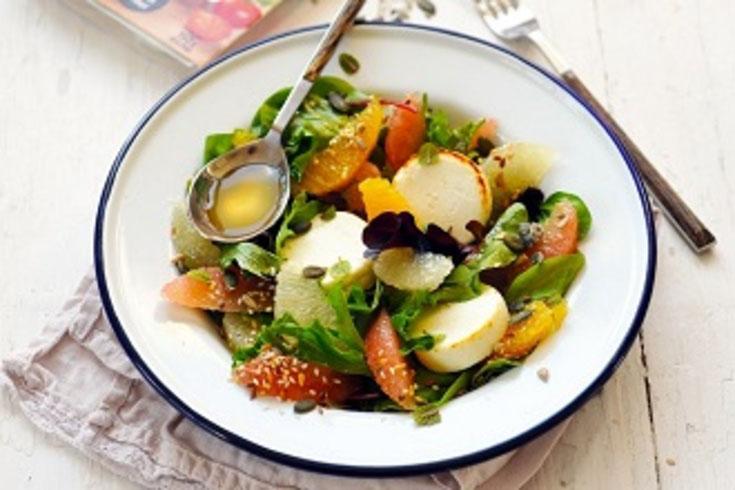 Salade aux agrumes et aux Palets de Chèvre