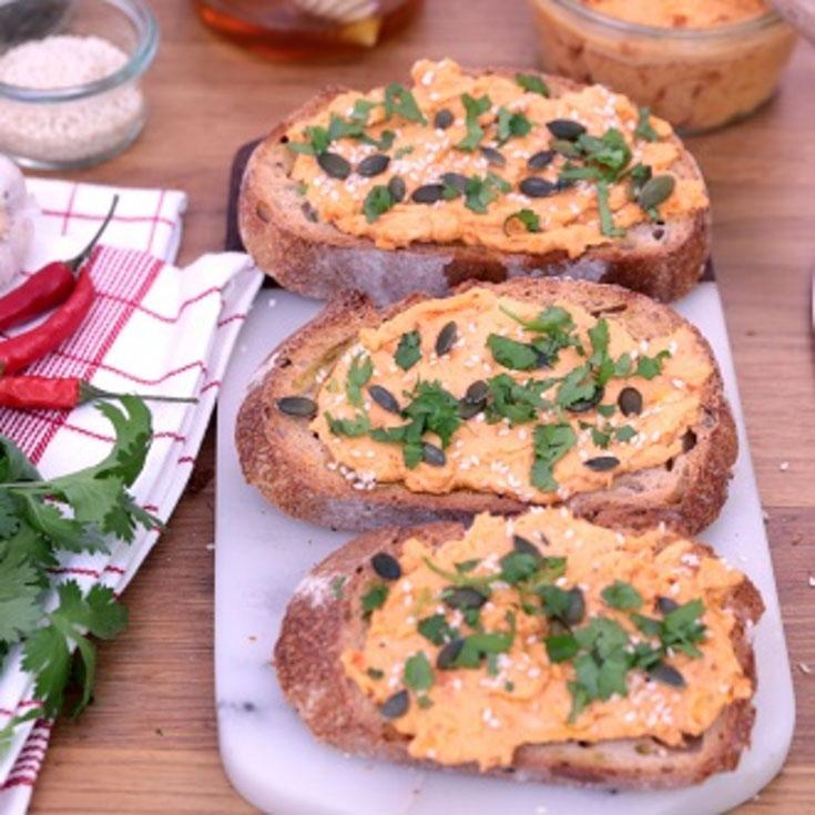Tartinade de patate douce à la crème de chèvre