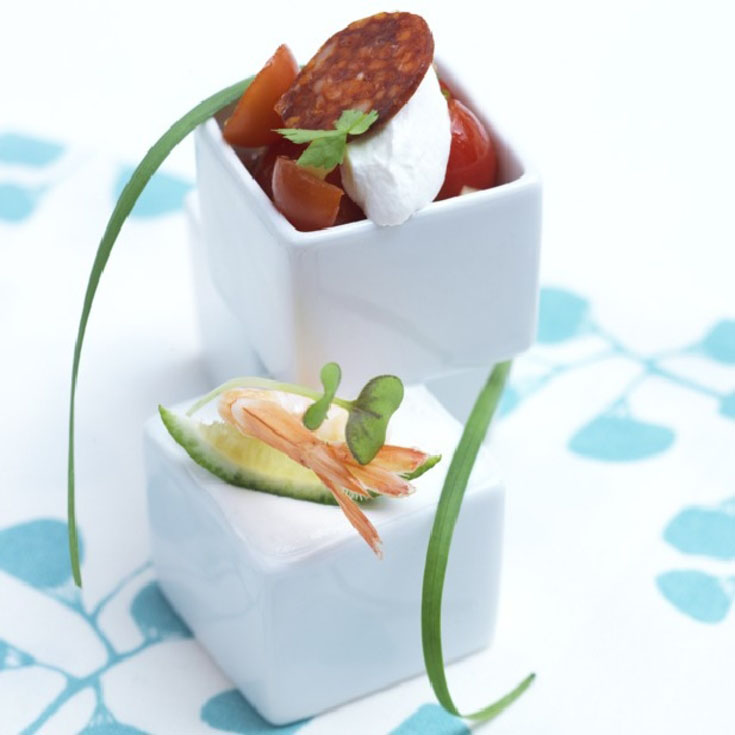 Verrine chèvre frais, tomates et chorizo