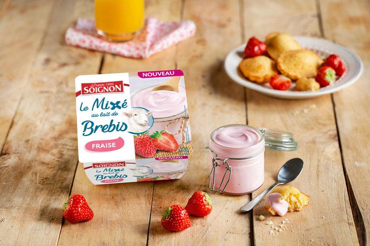 Yaourt mixé fraise au lait de brebis