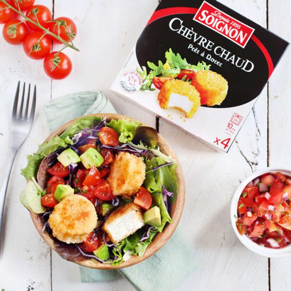 Salade au Chèvre chaud et salsa de tomates