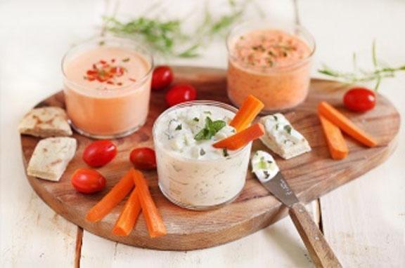 Trio de dips au fromage blanc de chèvre