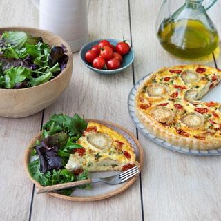 Quiche à la bûche de chèvre Herbes de Provence et aux tomates cerises