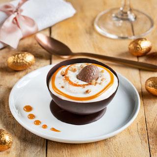 Coques de chocolat à la mousse de fromage blanc