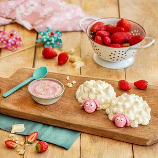 Dômes brebis au yaourt mixé fraise