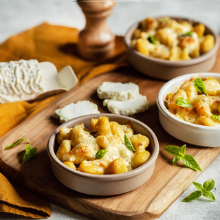 Gratin de gnocchis au fromage de chèvre et basilic