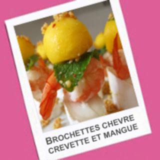 Brochette de chèvre, crevette et mangue