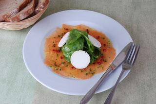 Carpaccio de fromage de chèvre et saumon