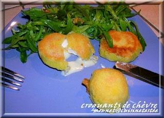 Croquants au fromage de chèvre et sa salade de mâche