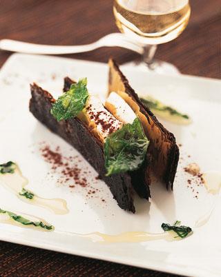 Croustillant de cacao au palet de chèvre frais
