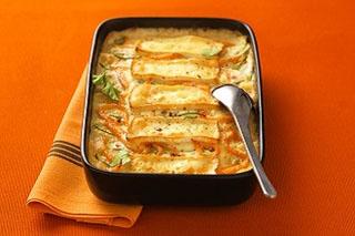 Lasagnes aux courgettes, saumon et camembert de chèvre