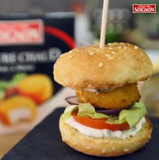 Mini burger de chèvre chaud pané