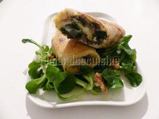 Omelette crousti-moelleuse chèvre épinards