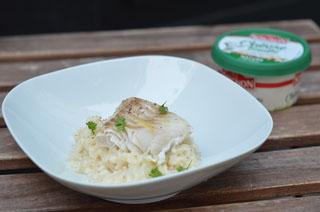 Roulé de poisson au fromage de chèvre fouetté